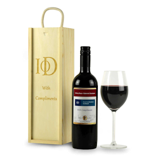 Personalised Red Wine & Engraved Wooden Gift Box