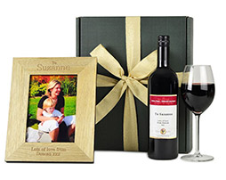 Personalised Red Wine & Wooden Photo Frame